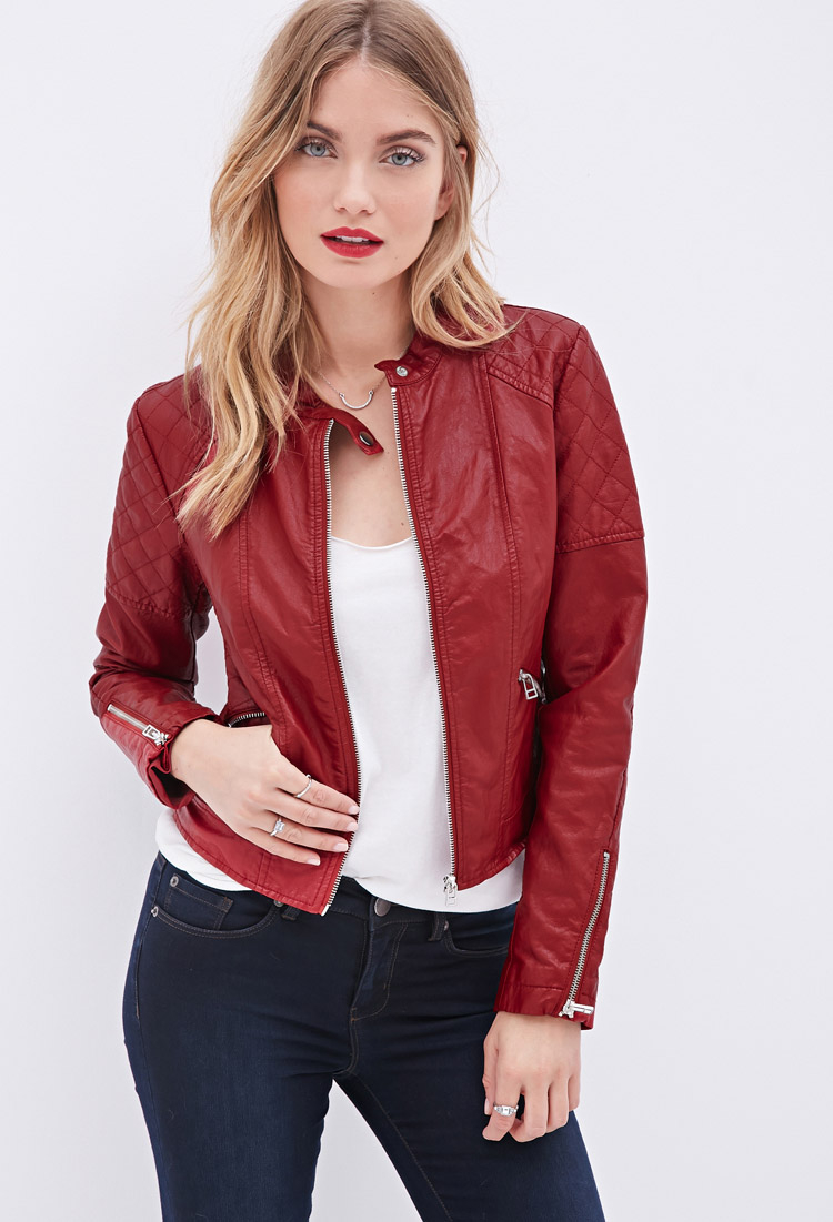 Forever 21 Quilted Faux Leather Jacket In Red | Lyst