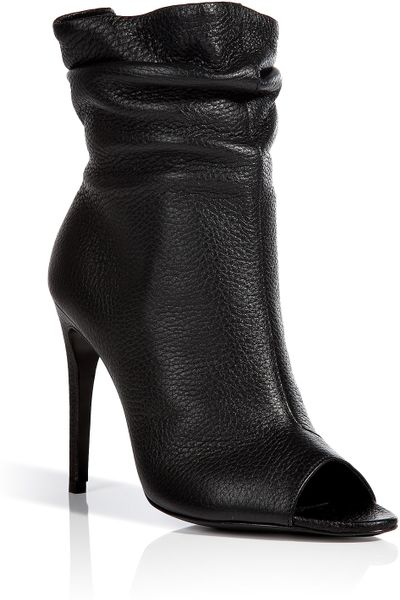 burberry leather burlison open toe ankle boots in black lyst