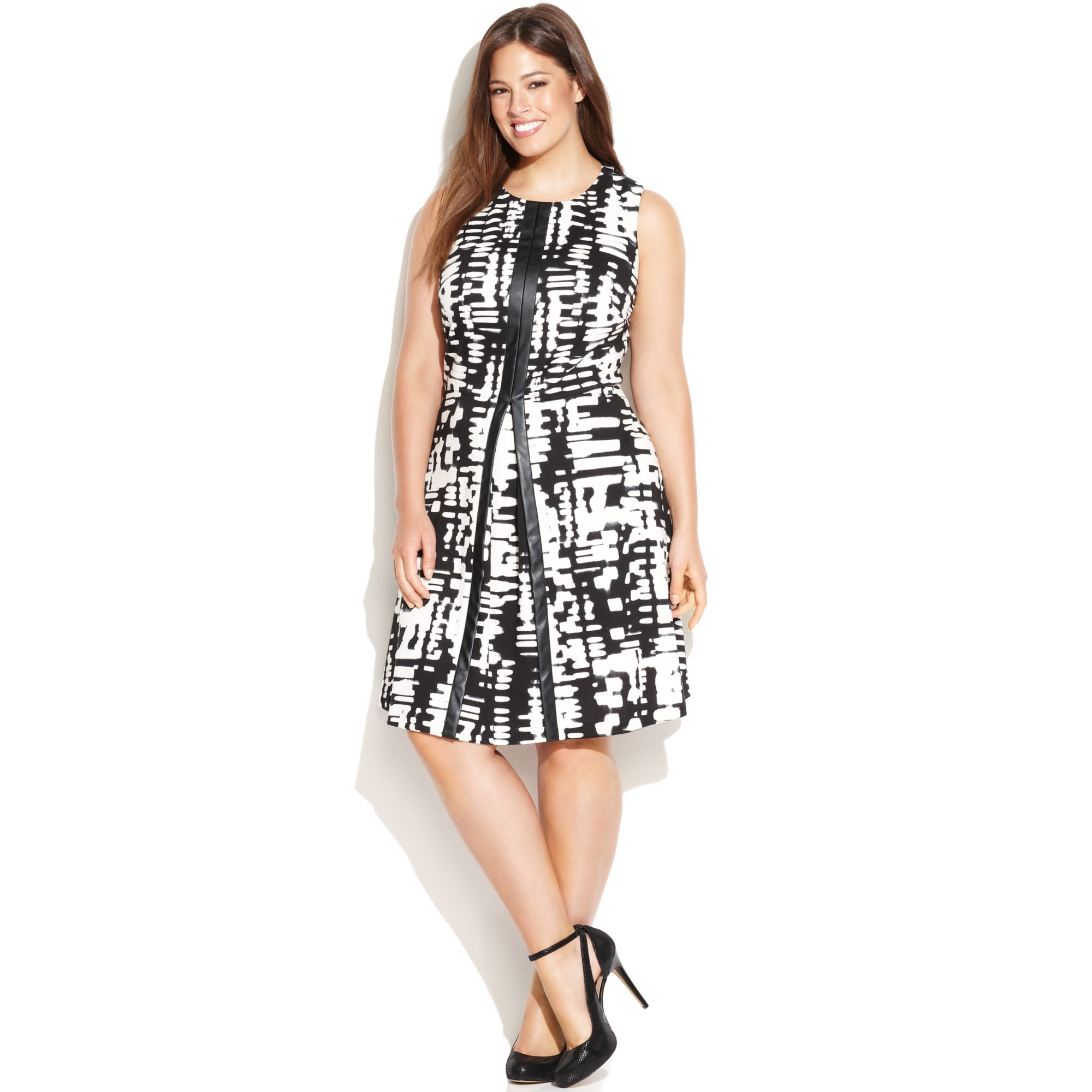 Calvin Klein Plus Size Fauxleathertrim Geoprint Dress In