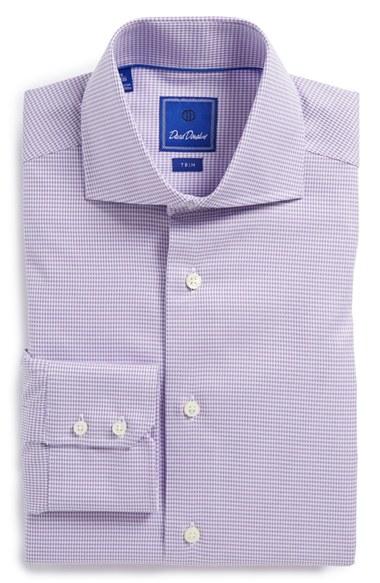 David donahue trim fit royal oxford check dress shirt in for Royal purple mens dress shirts