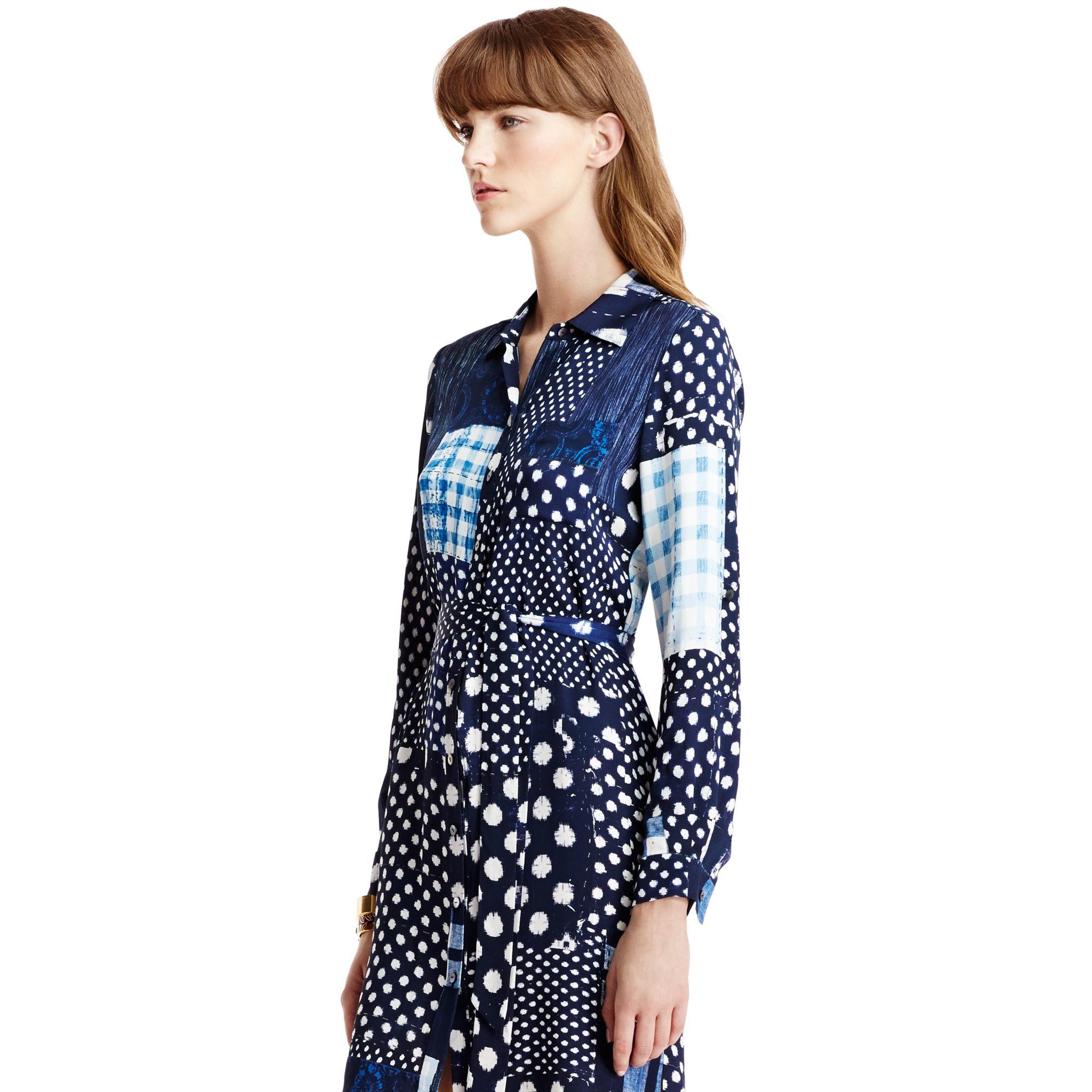 Lyst diane von furstenberg prita long silk shirt dress for Diane von furstenberg shirt