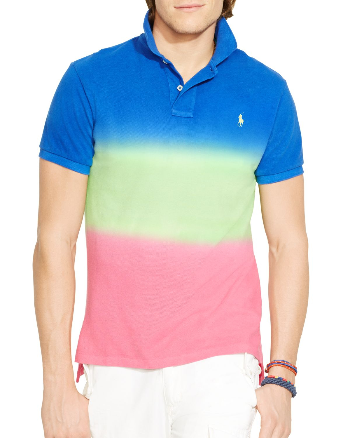 81bc6d629 Ralph Lauren Polo Custom Fit Dip Dyed Polo Shirt - Slim Fit for Men ...