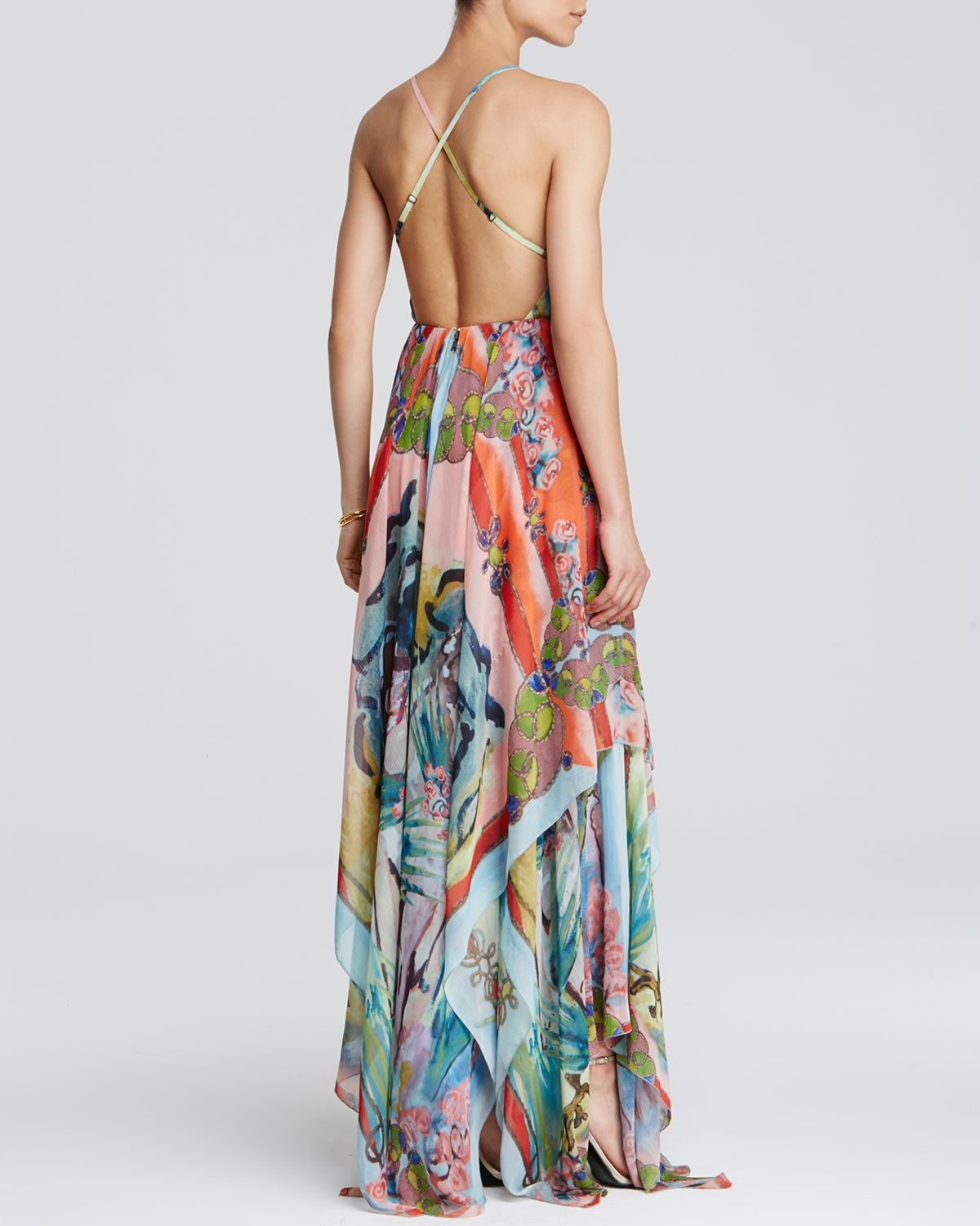 Alice   olivia Orly Handkerchief Maxi Dress - Lyst