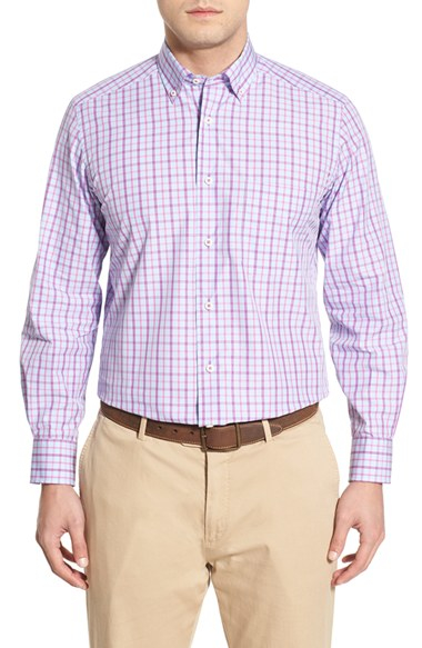 David donahue regular fit plaid sport shirt in blue for for David donahue french cuff shirts