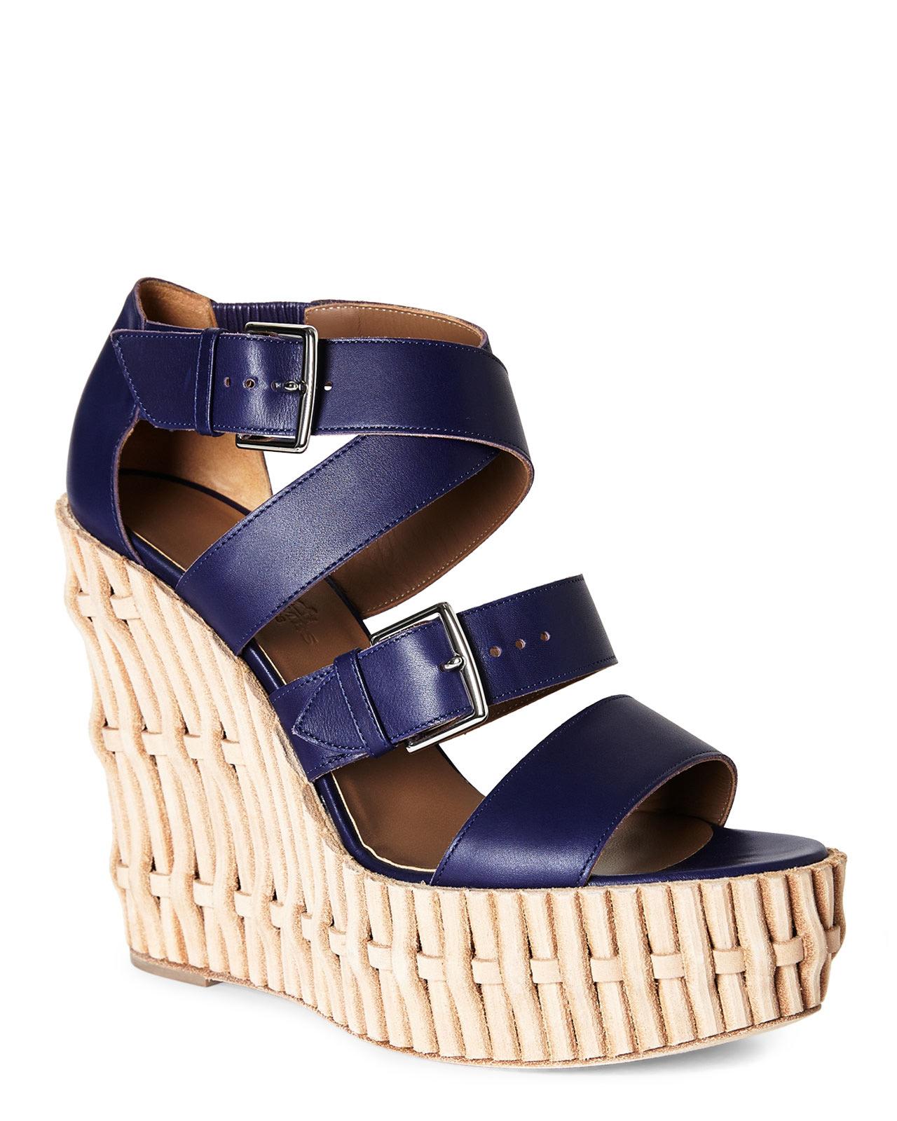 6e3a73811805 Lyst - Hermès HermãˆS Platform Wedge Sandals in Blue