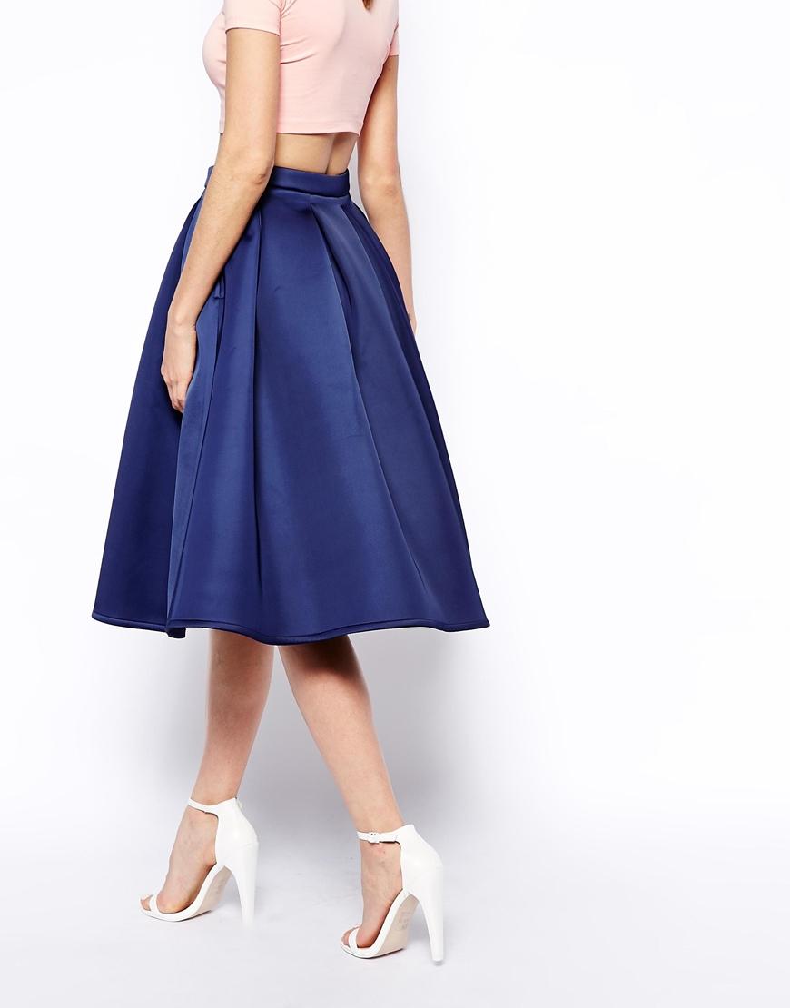 asos premium prom midi skirt in bonded satin in blue lyst