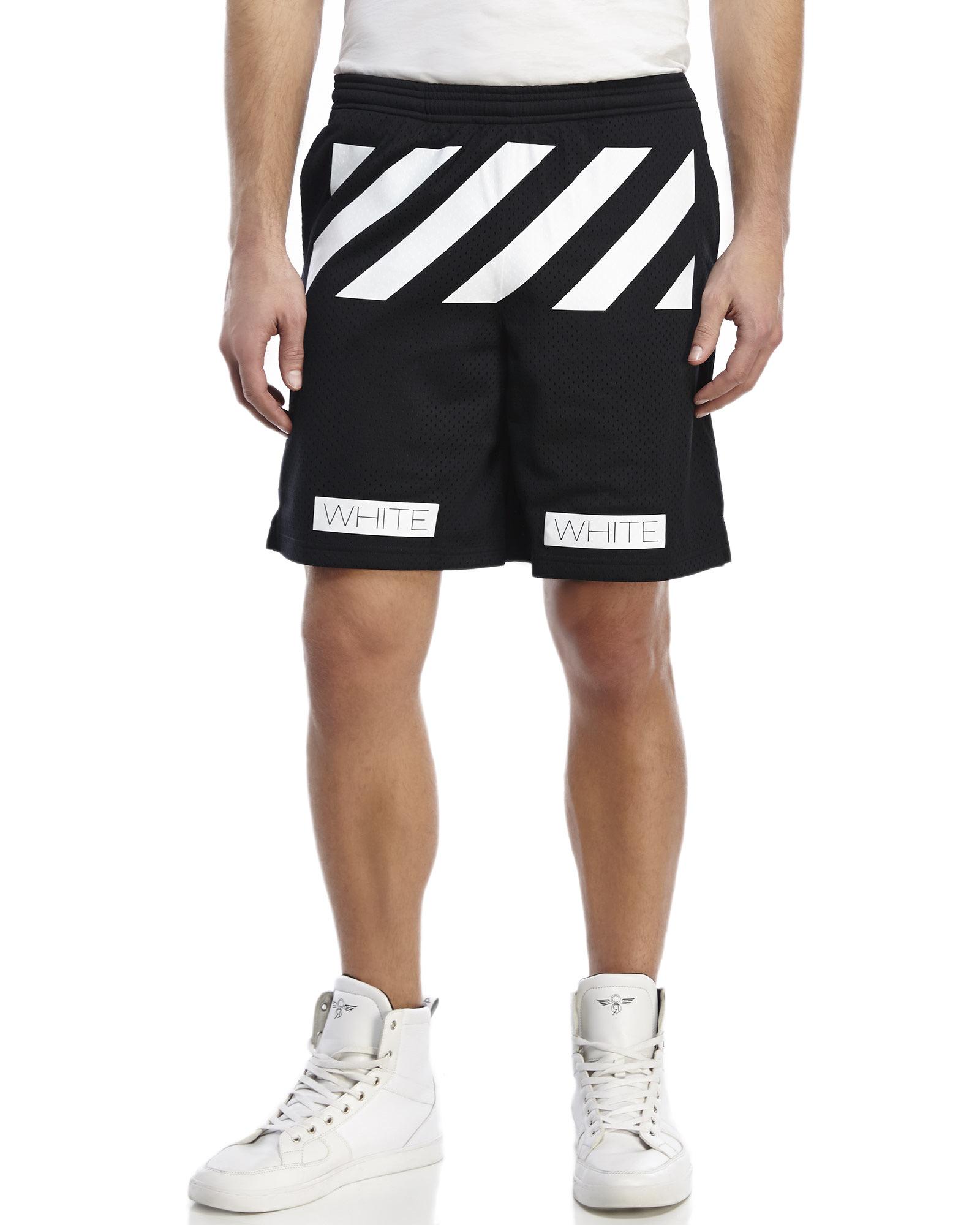 Lyst - Off-White c o Virgil Abloh Striped Mesh Shorts in Black for Men f99f07d21