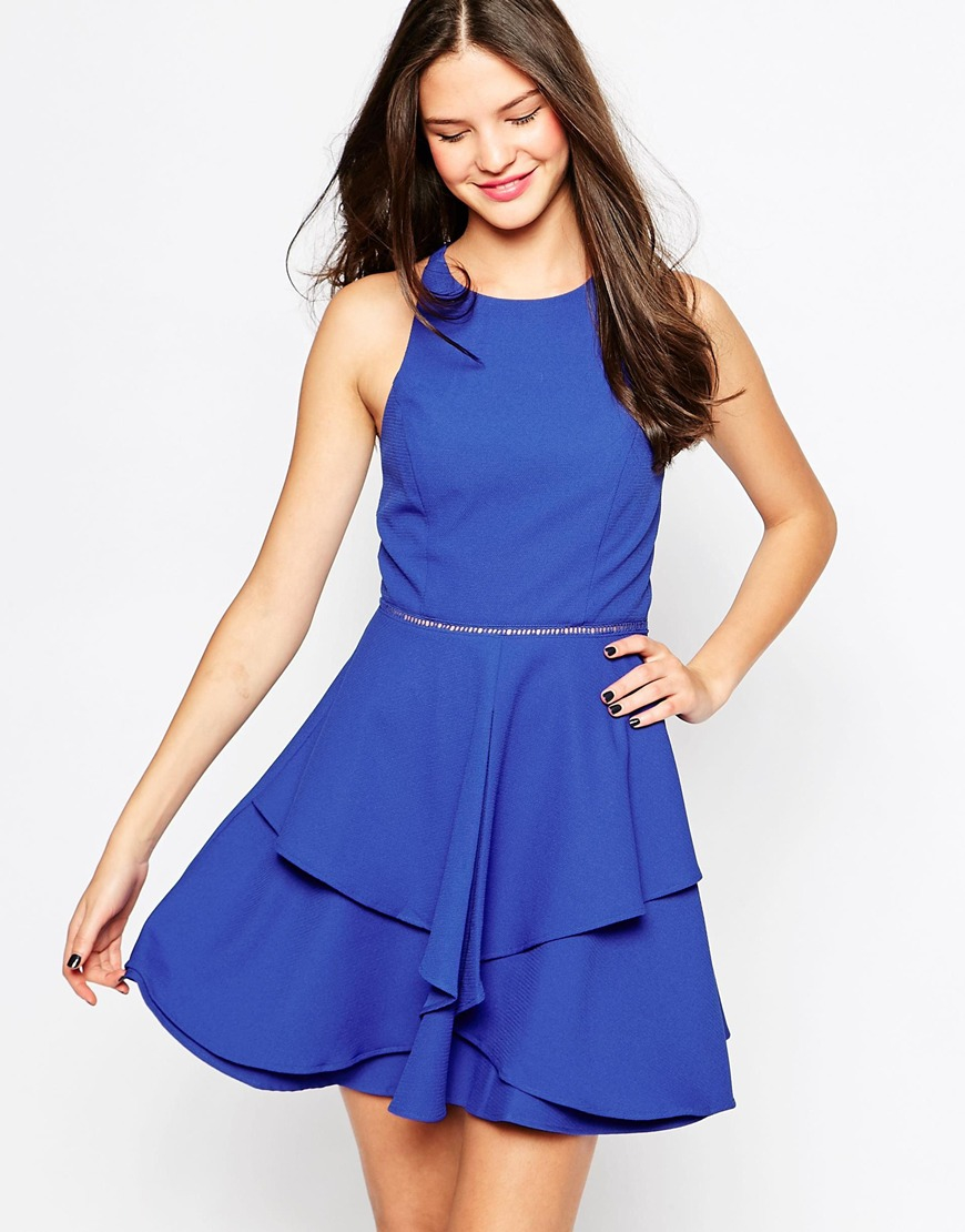Adelyn Rae Layered Skater Dress in Blue - Lyst 8816db4d9