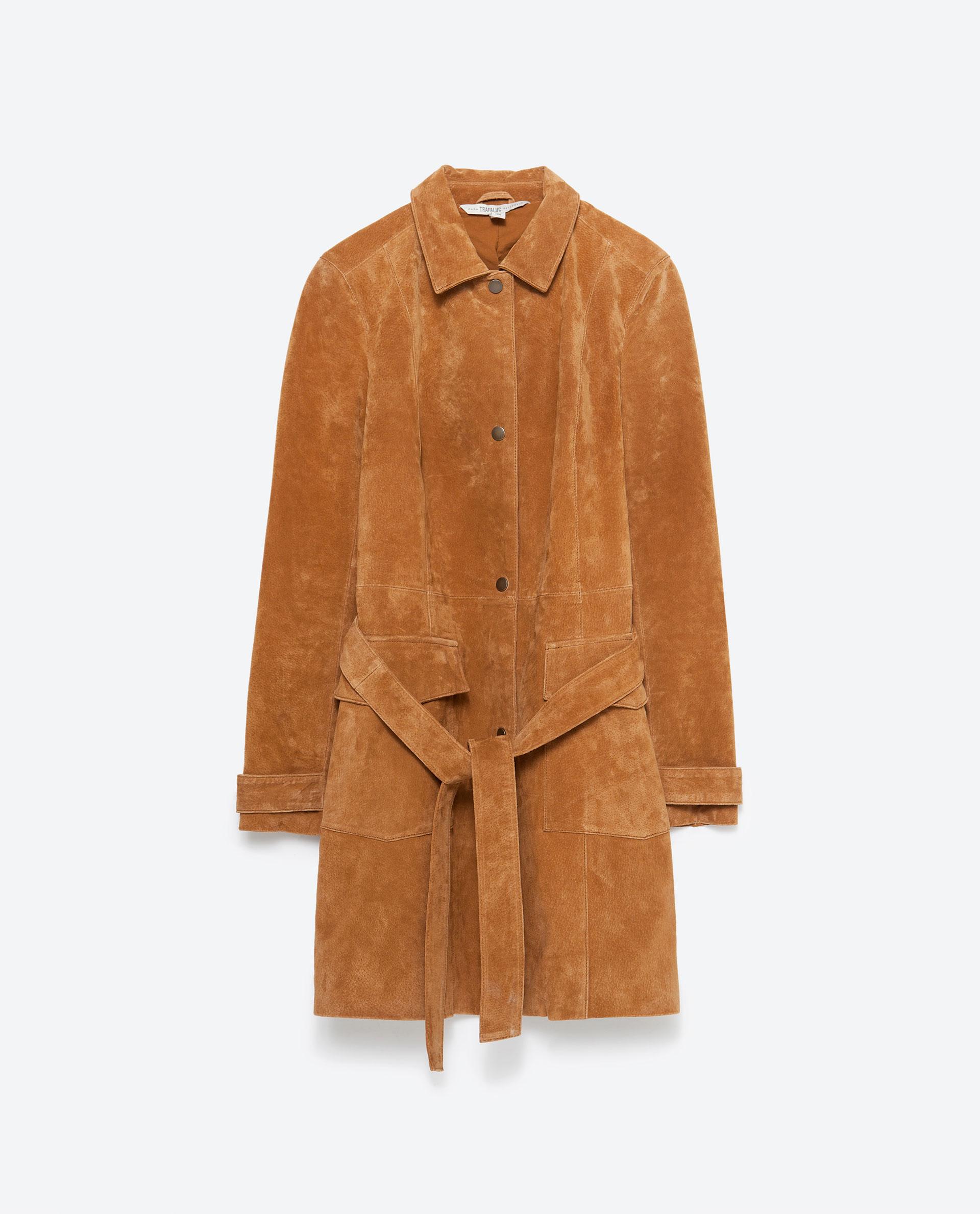 Zara Suede Coat in Brown | Lyst
