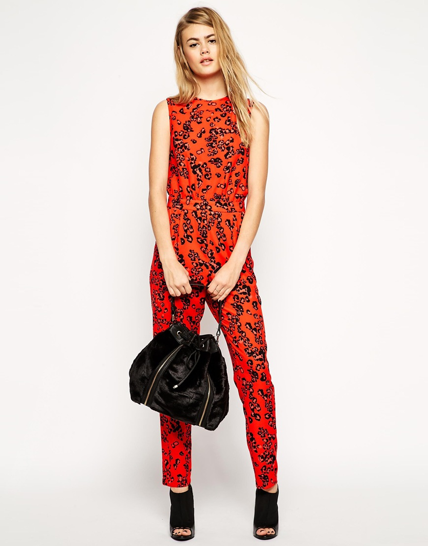 Asos Jumpsuit In Red Animal Print in Red | Lyst