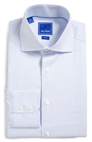 David Donahue Trim Fit Dot Dress Shirt In White For Men Lyst