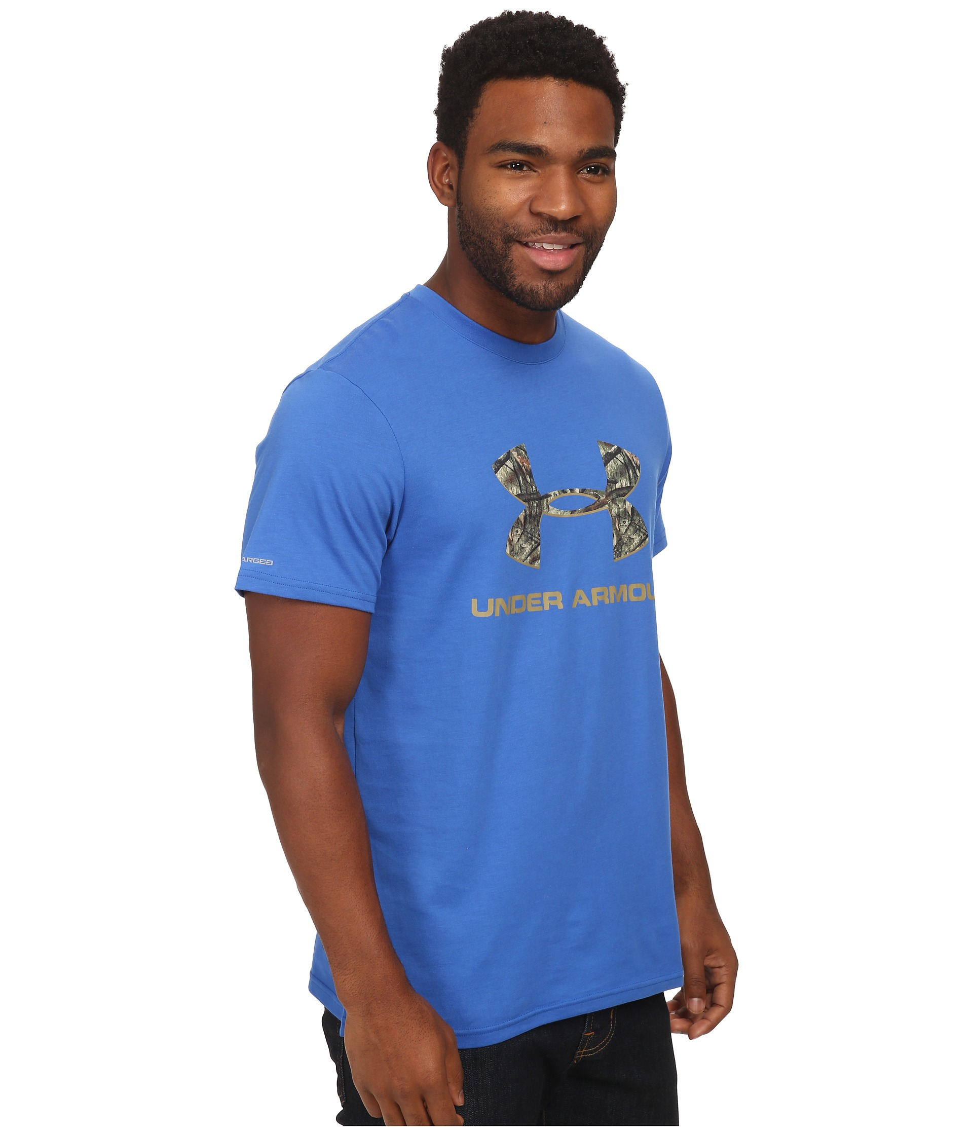 Under armour ua camo fill logo tee in brown for men lyst for Under armour brown t shirt