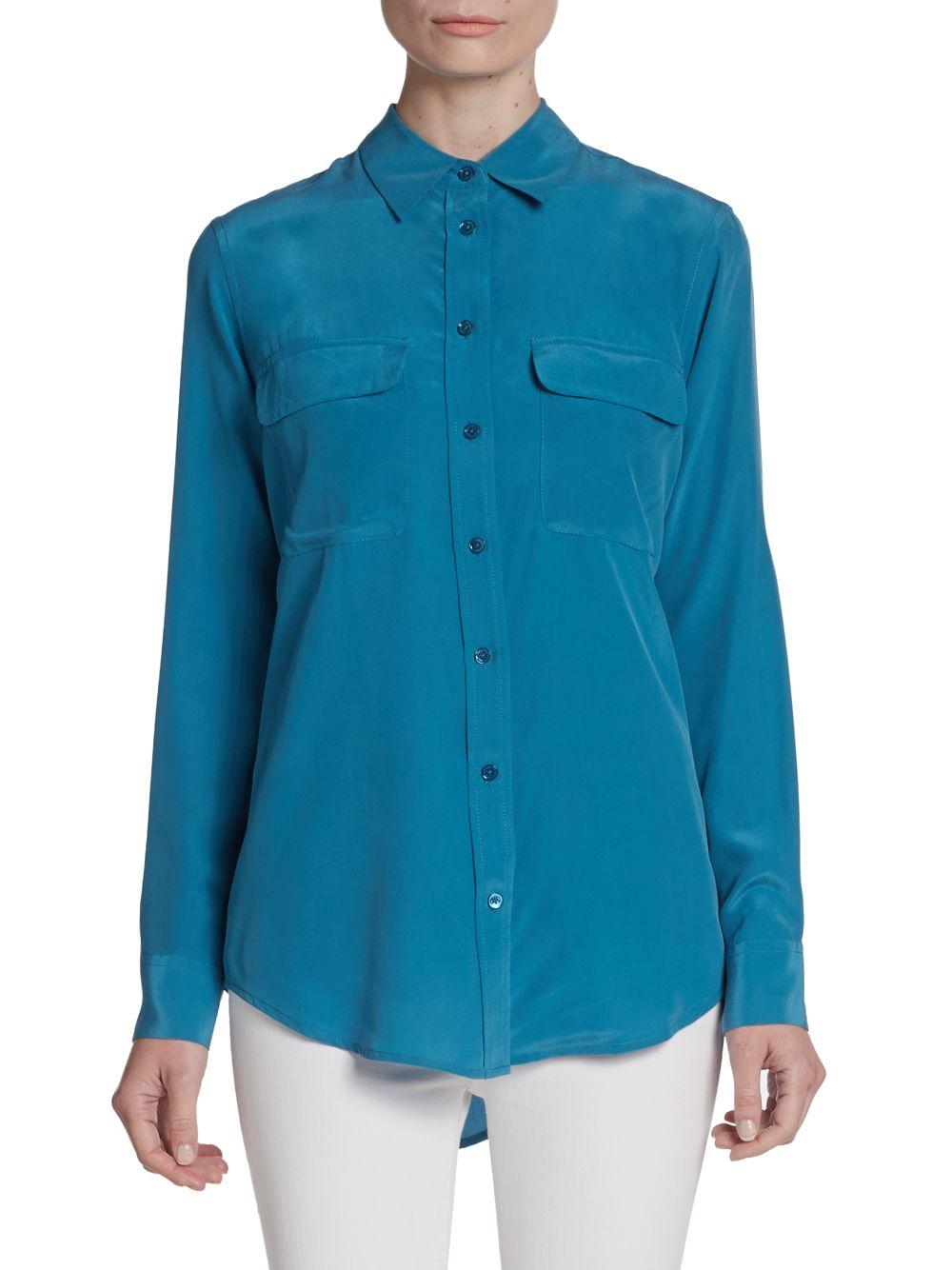 Equipment slim signature silk shirt in blue lyst for Equipment signature silk shirt