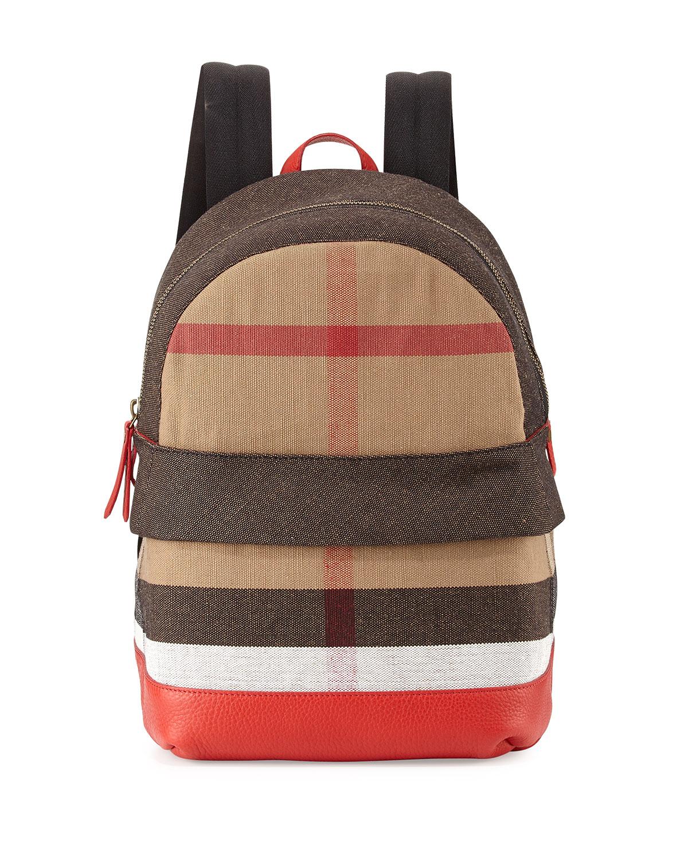 e6fa6267240e Lyst - Burberry Children S  Leather-Trim Canvas Check-Print Backpack ...
