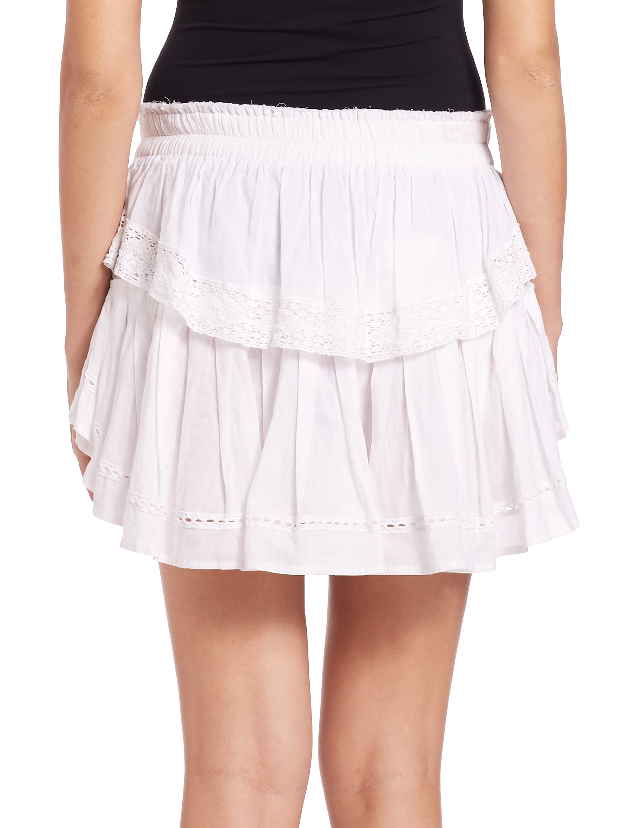 0bed605e9 LoveShackFancy Cotton Ruffle Skirt in White - Lyst