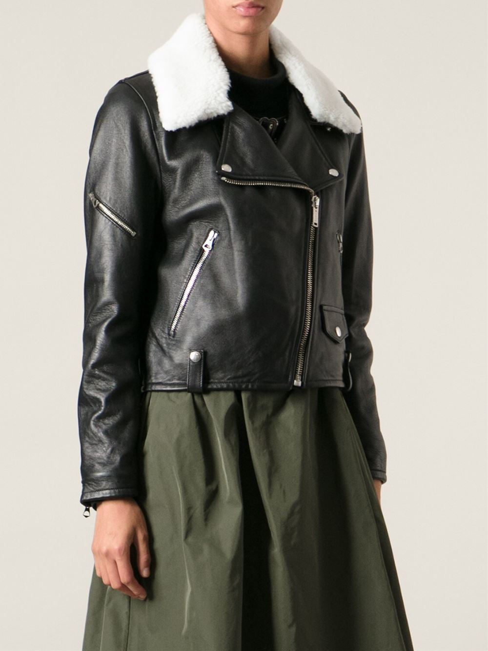 Golden goose deluxe brand White Fur Collar 'Bear' Jacket in Black ...