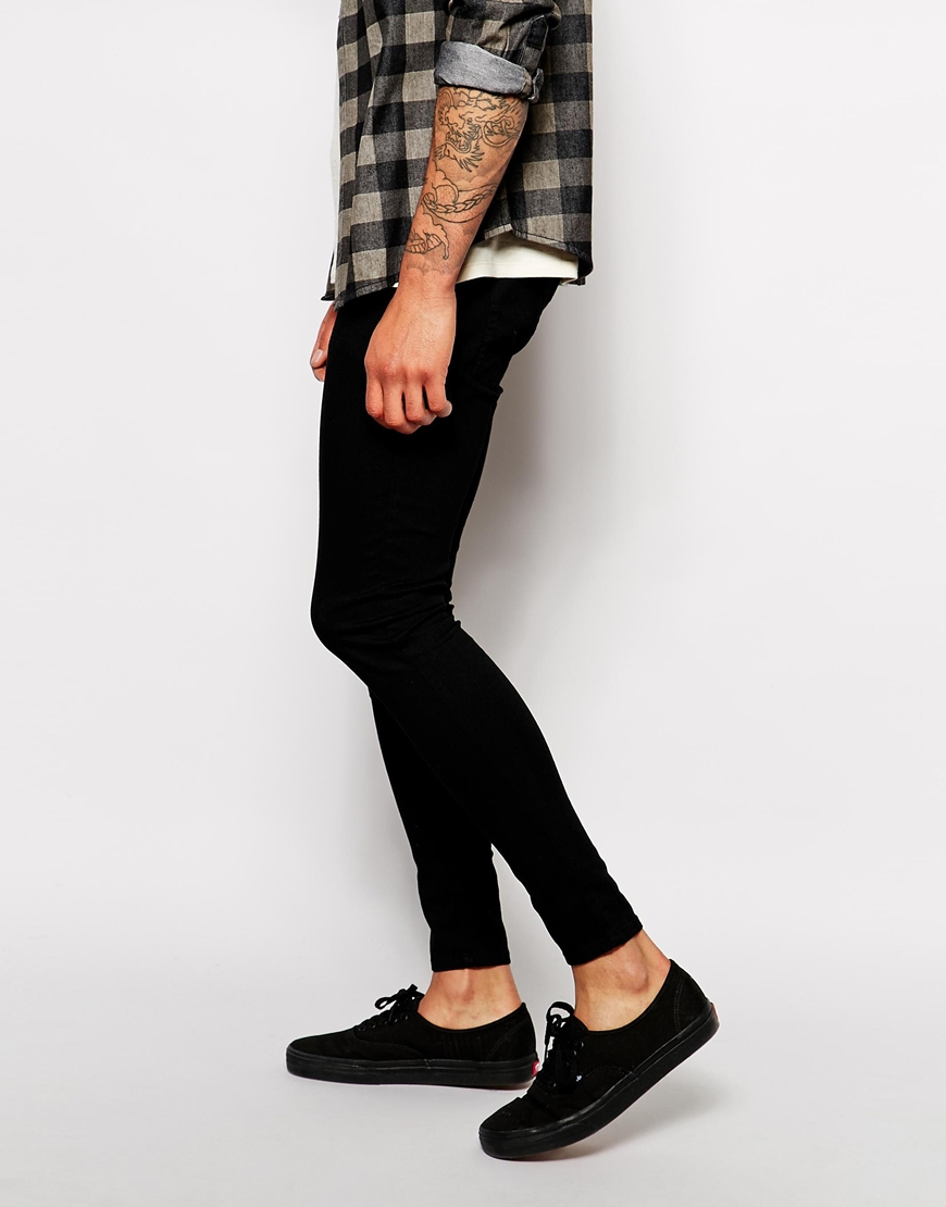 Cheap monday Jeans Low Spray Super Skinny Black in Black for Men