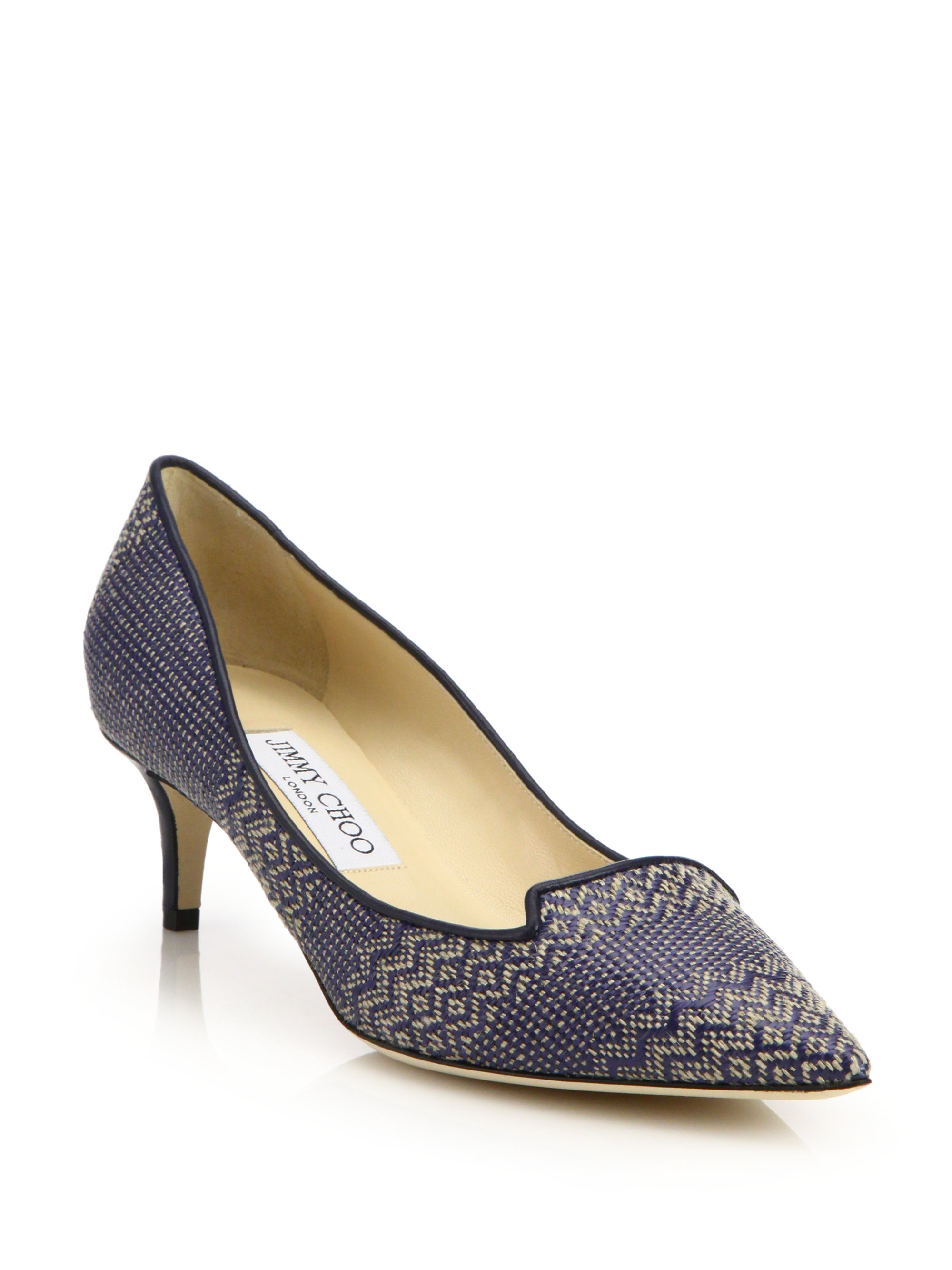 cc79d4054383 ... low cost lyst jimmy choo allure 50 woven textile leather mid heel pumps  2da51 9e1fe