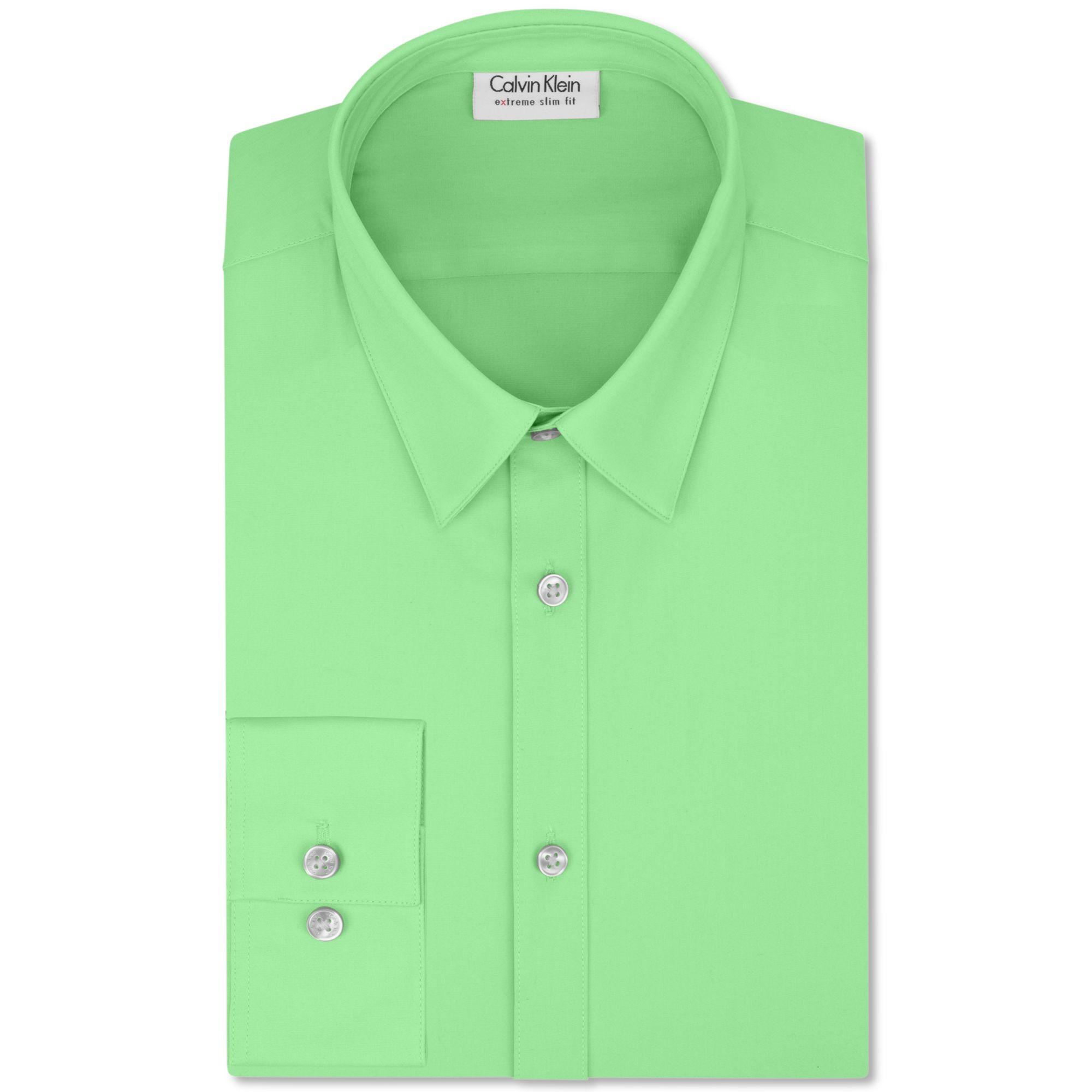 Calvin klein x extra slim fit solid dress shirt in green for Calvin klein x fit dress shirt