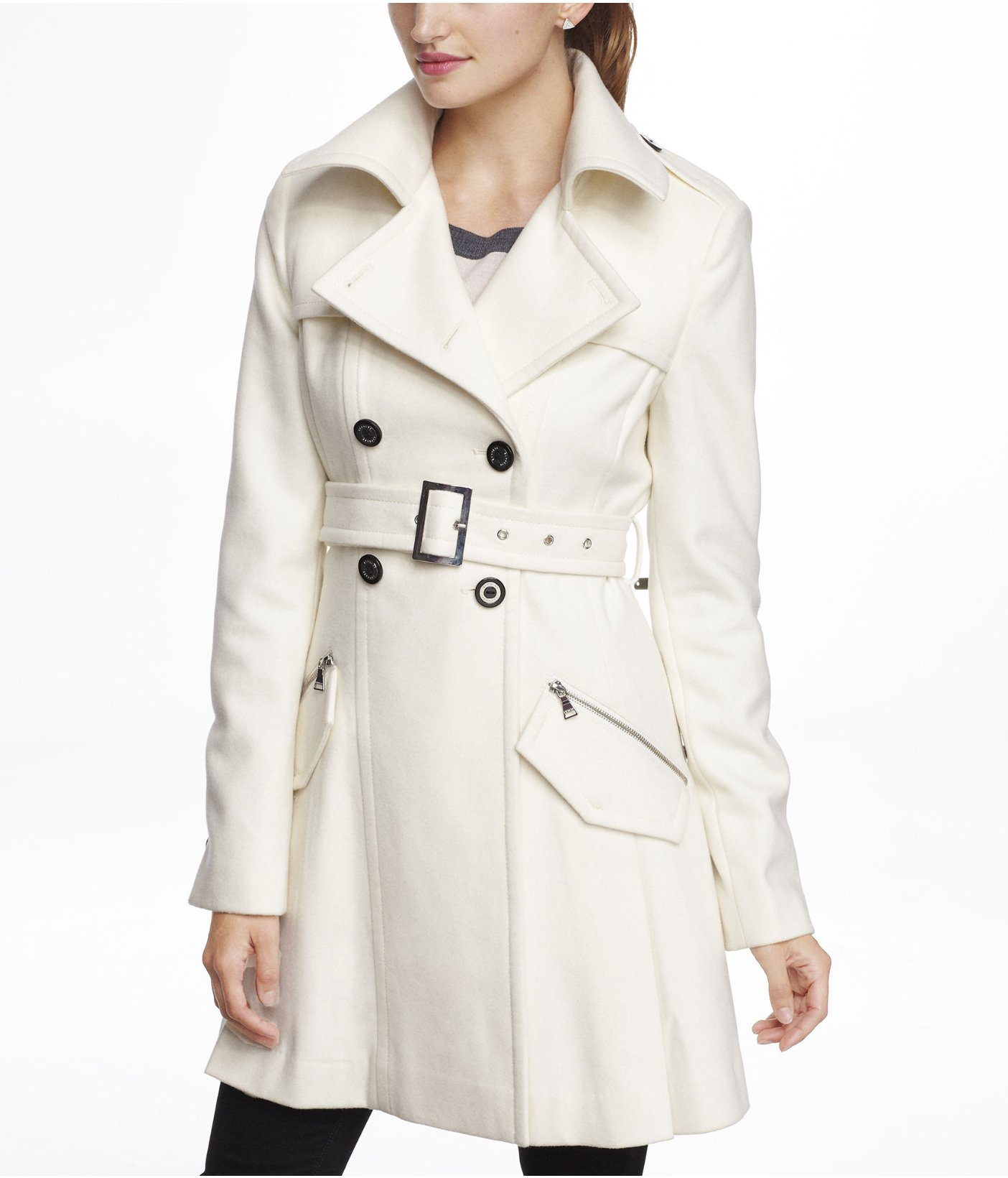 137fa45c04c2 Express Wool Blend Fit and Flare Trench Coat in Natural - Lyst