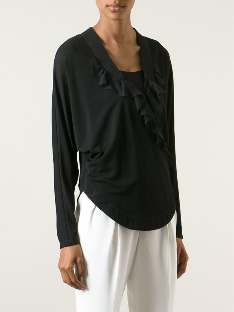 Givenchy ruffled wrap t shirt in black lyst for Wrap style t shirts