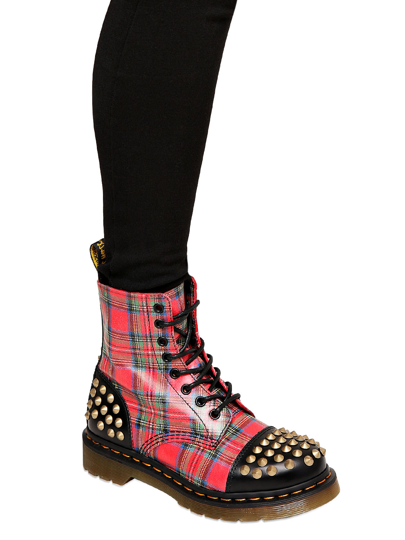 Dr Martens 30mm Tartan Printed Calfskin Boots In Red Lyst