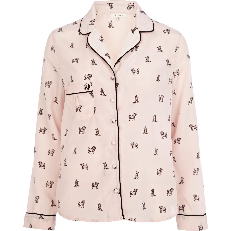 river island pink dog print pyjama top in pink lyst