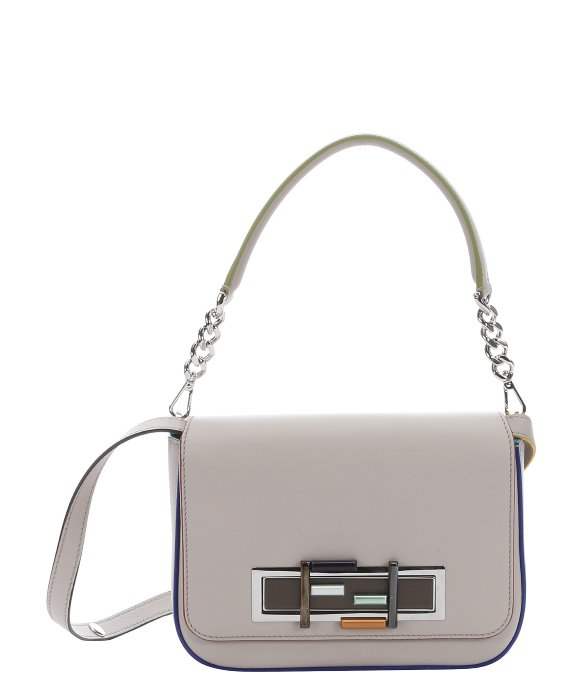 0272f2eb12 Fendi Light Grey Leather  3 Baguette  Chain Shoulder Bag in Gray - Lyst