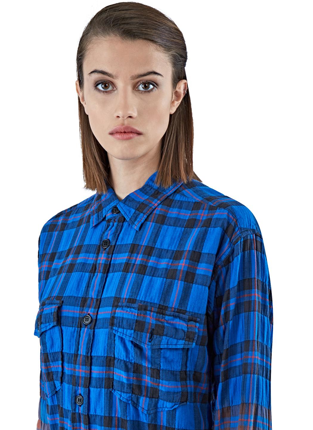 Saint laurent women 39 s long checked shirt dress in blue in for Saint laurent shirt womens