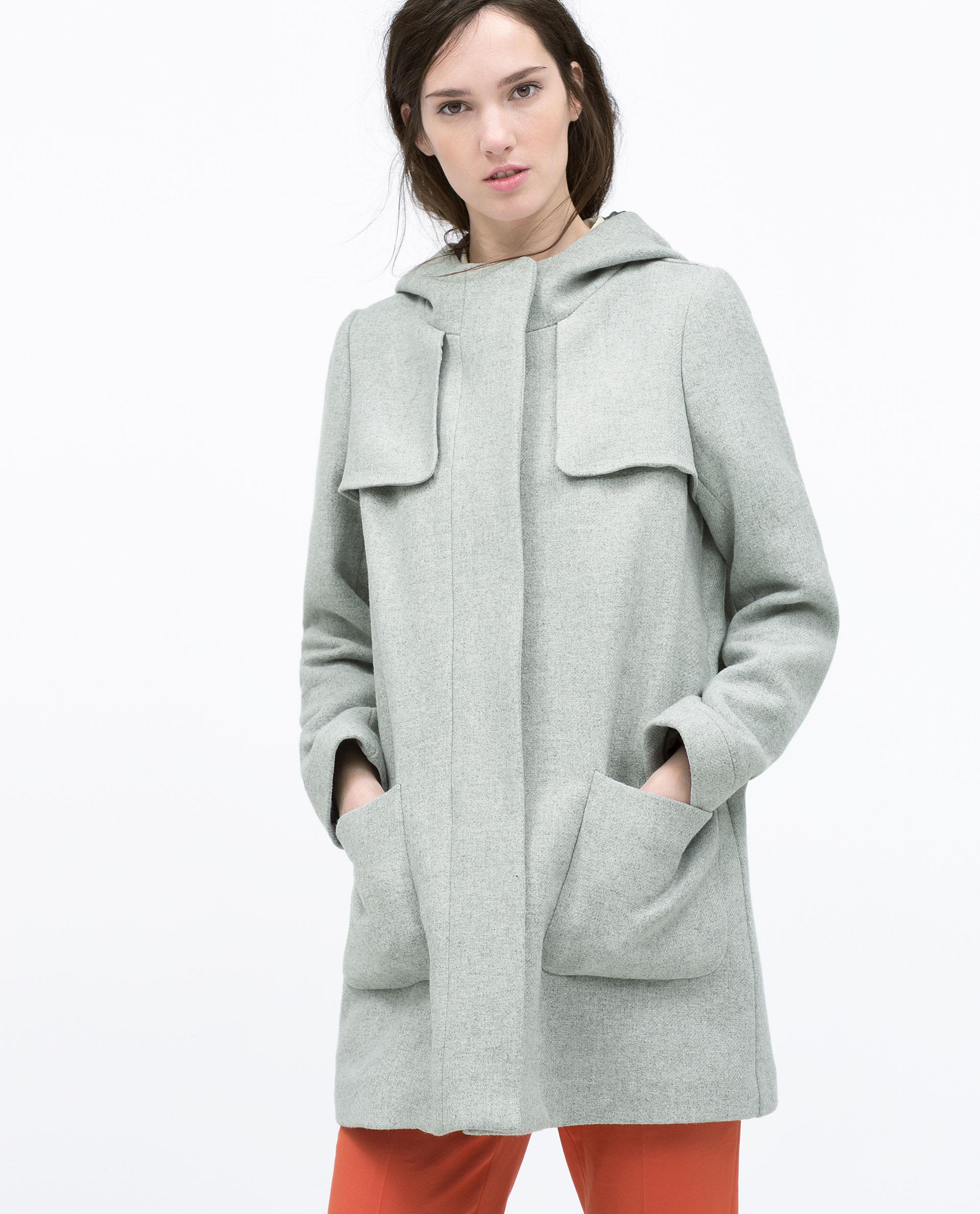 Zara Grey Wool Coat With Hood - Best Hood 2017