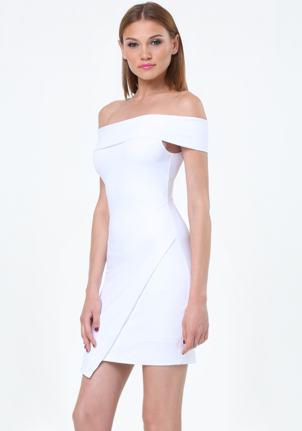 f88806d776c1 Lyst - Bebe Off Shoulder Dress in White