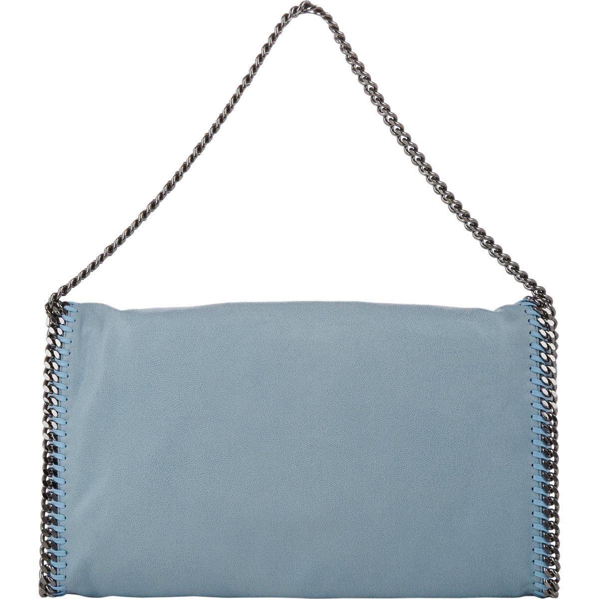 stella mccartney falabella shaggy deer foldover tote in blue lt blue lyst. Black Bedroom Furniture Sets. Home Design Ideas