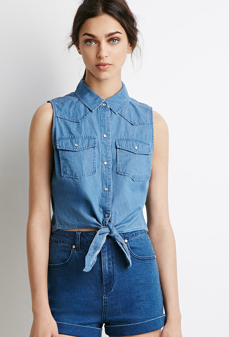 Forever 21 Knotted Denim Shirt in Blue | Lyst
