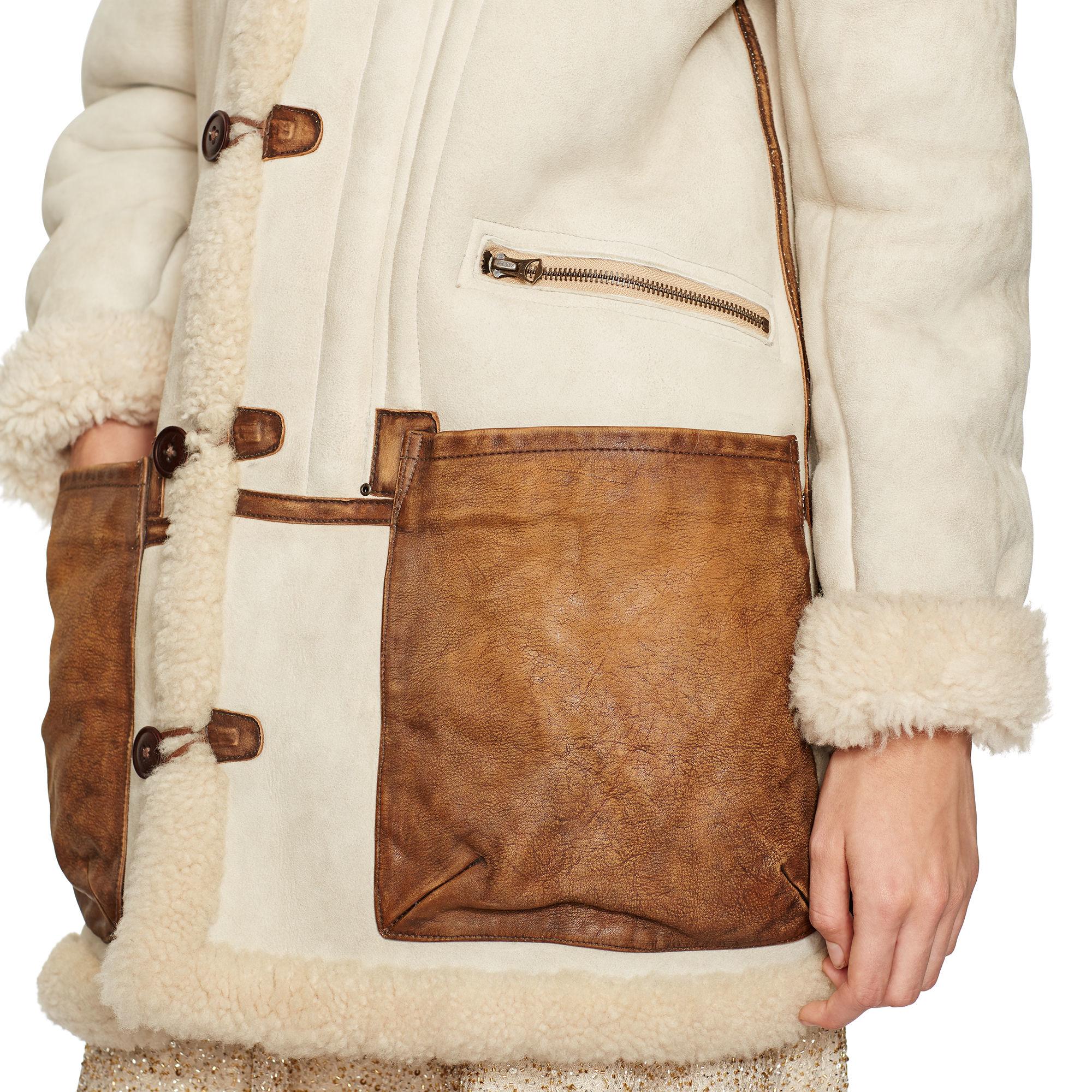 f8f3dfc1995b63 Natural In Leather Trim Coat Ralph Shearling Lauren Lyst Polo W6qYw0van