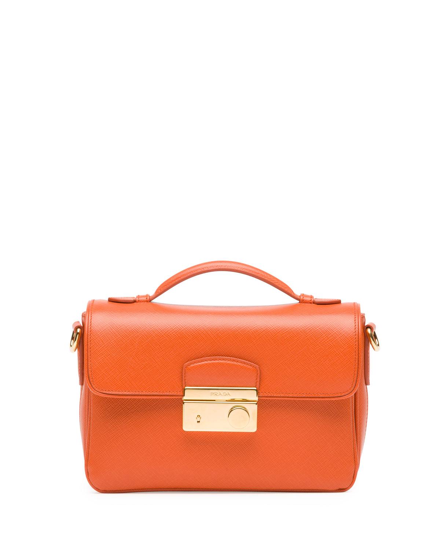 Prada Saffiano Small Sound Cross-Body Bag in Orange | Lyst