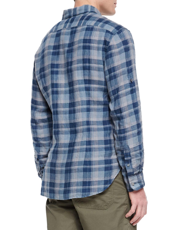 John Varvatos Roll Tab Sleeve Plaid Shirt In Blue For Men