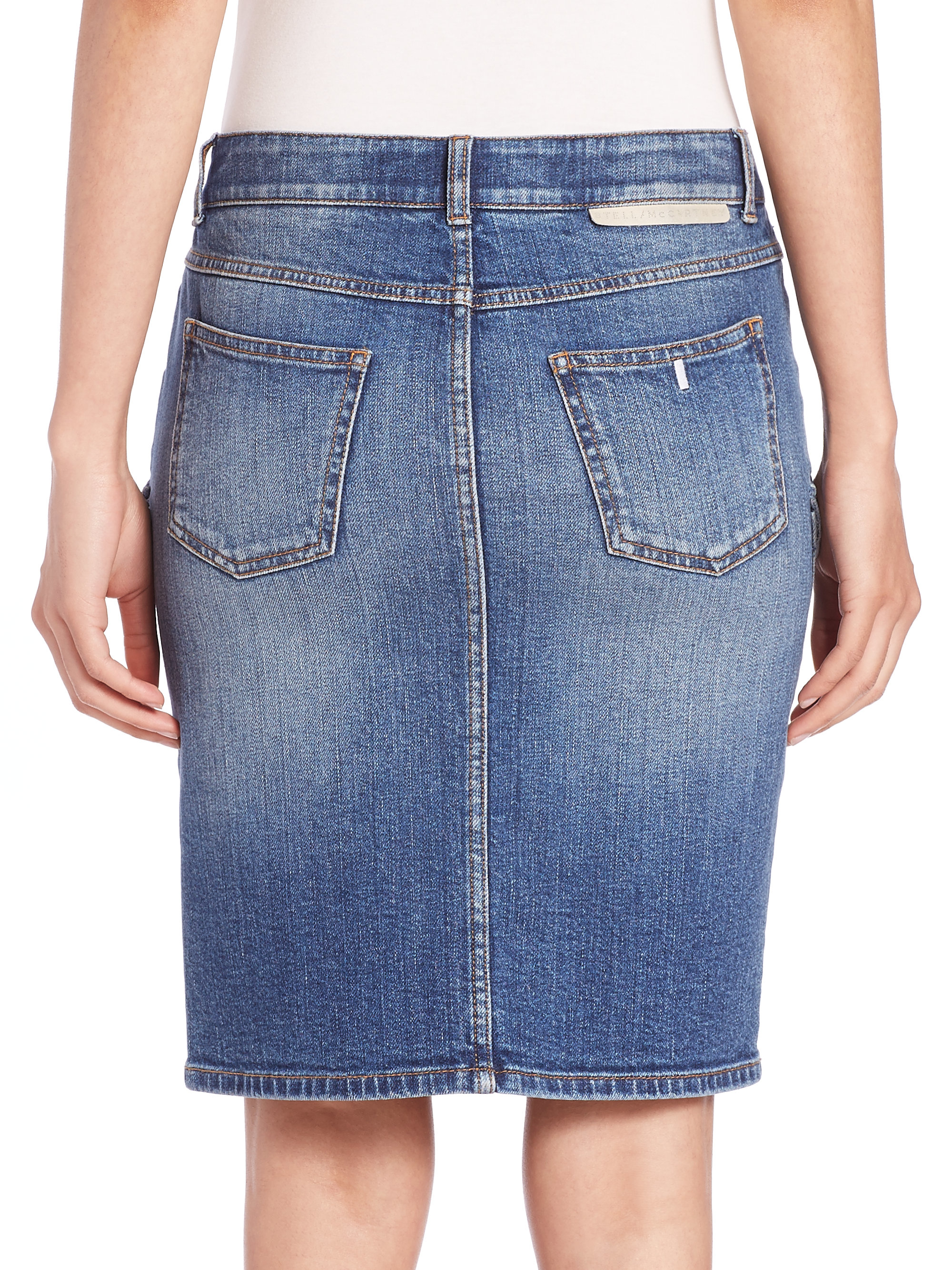 stella mccartney denim cargo skirt in blue lyst