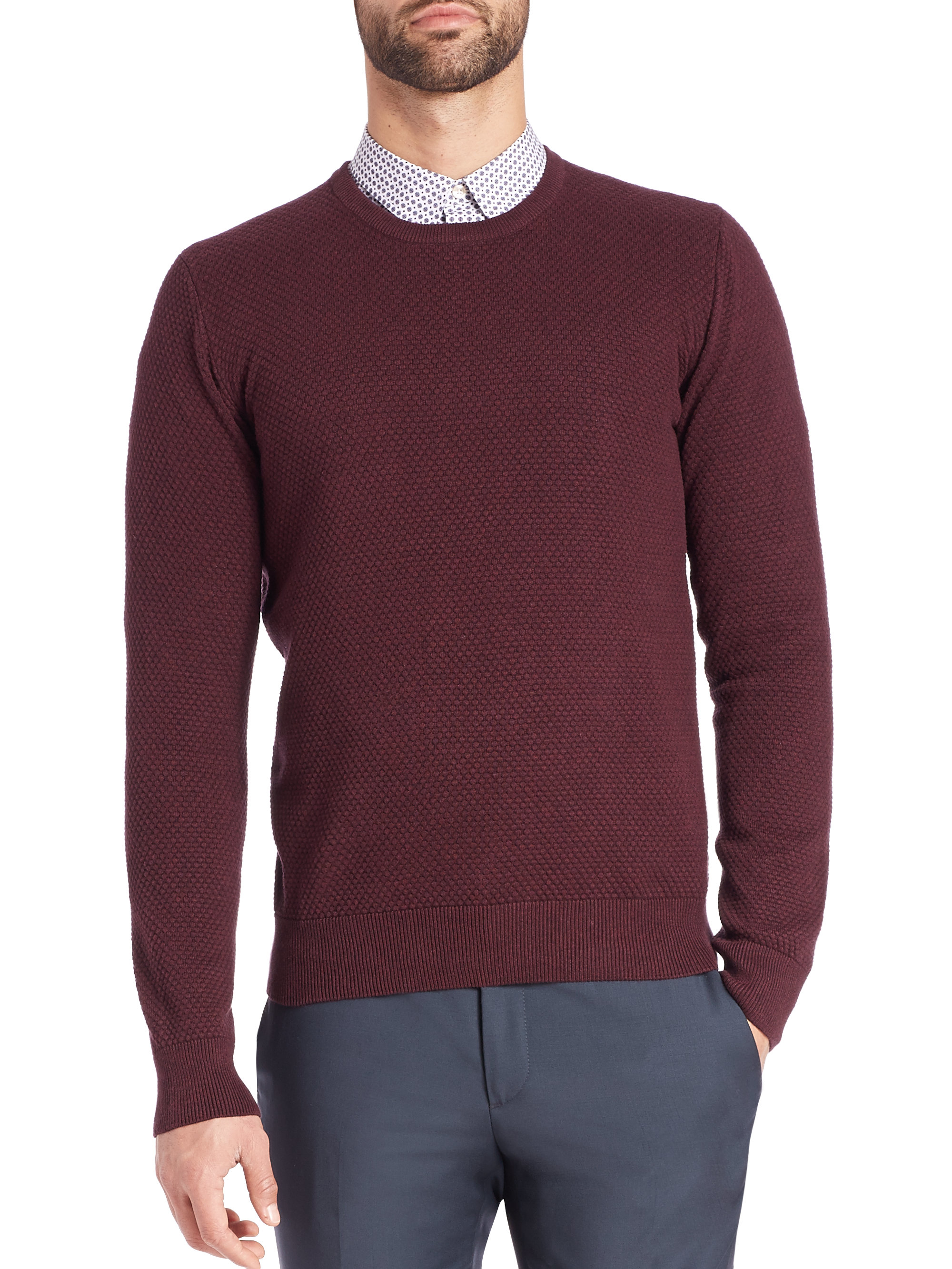 Circle Sweater: J.lindeberg Dexter Circle Texture Sweater In Purple For