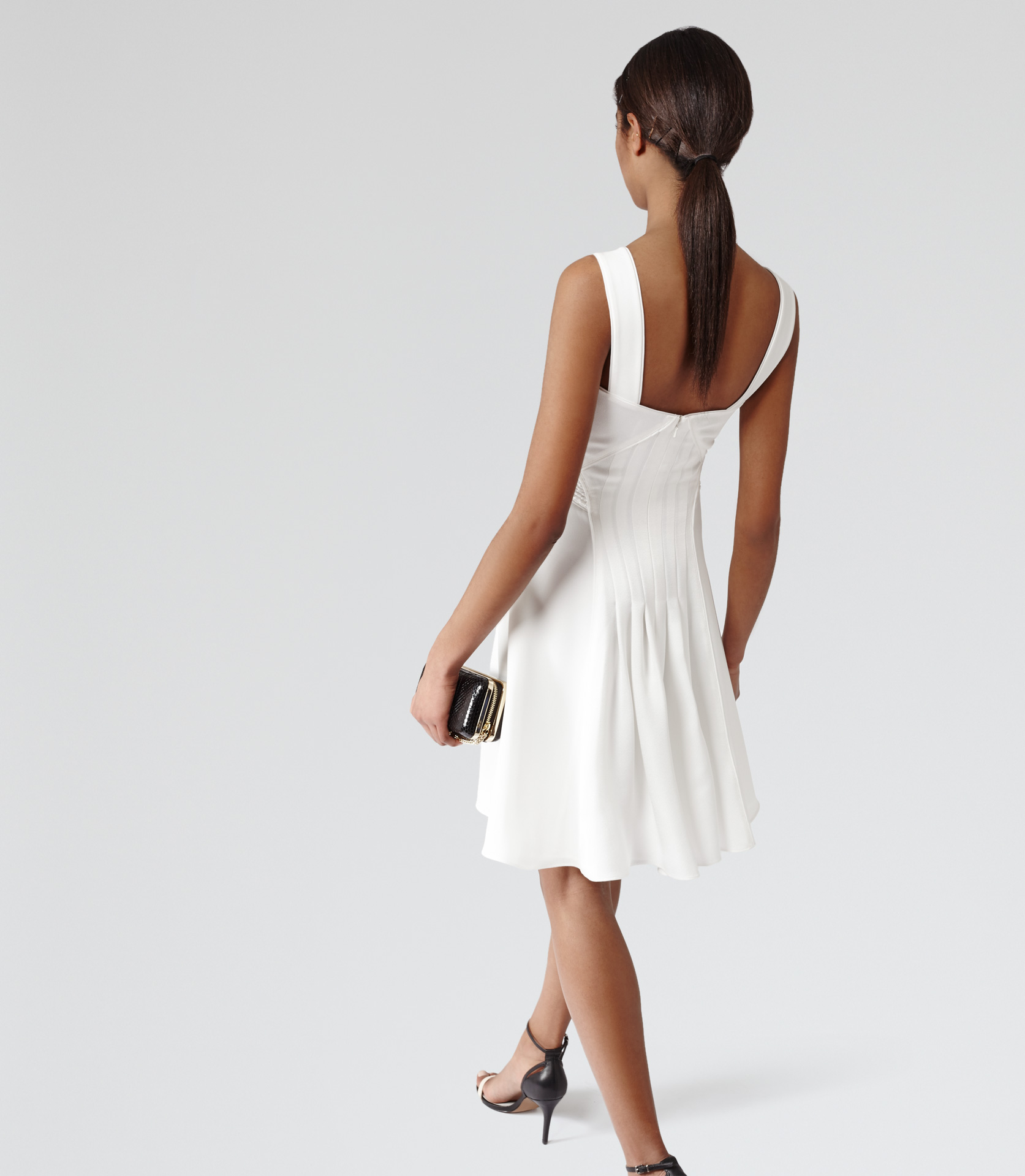 Lyst Reiss Jade Pleat Back Dress In White