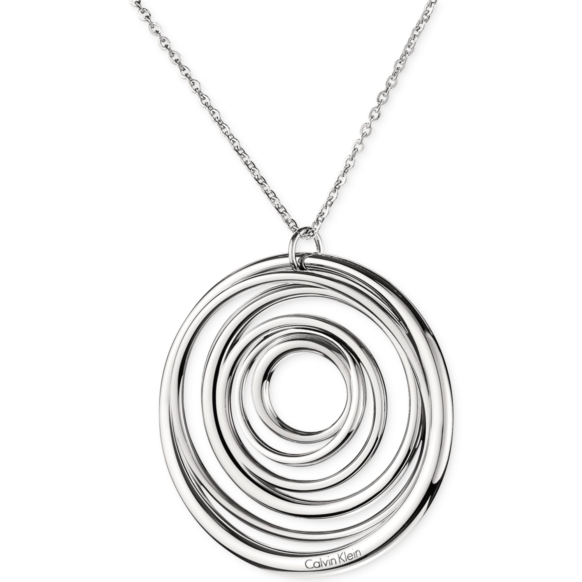Calvin klein ck stainless steel polished circle pendant for Stainless steel jewelry necklace
