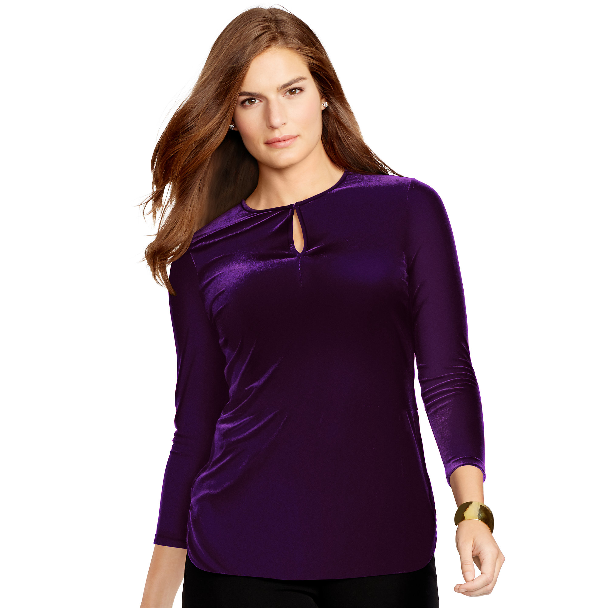 Lyst Ralph Lauren Velvet Keyhole Top In Purple