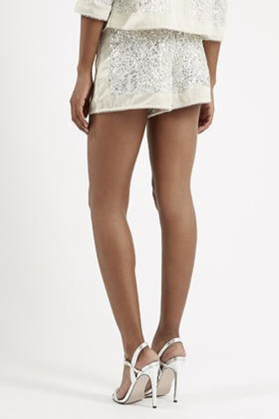 Topshop Sequin Embellished Shorts in Silver | Lyst