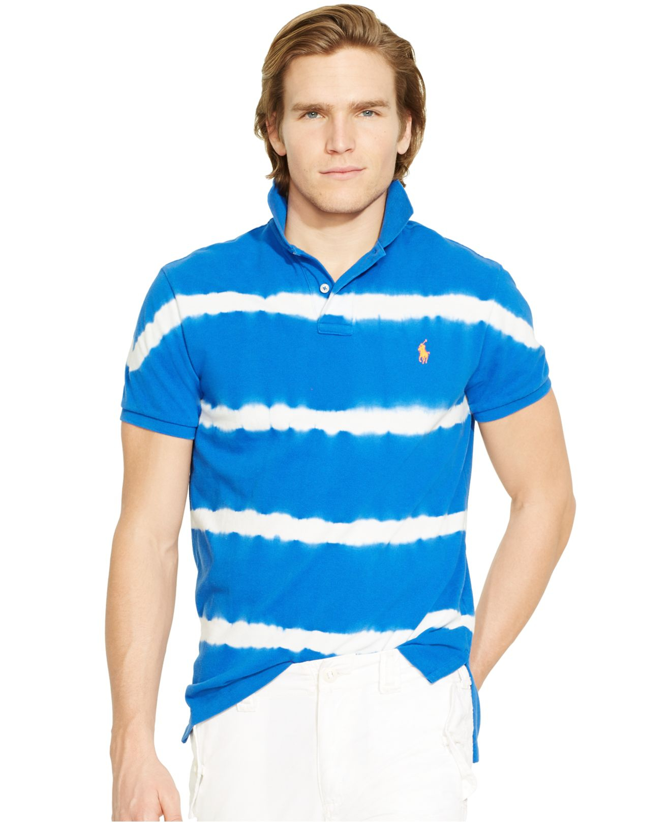 Polo Ralph Lauren Custom Fit Tie Dyed Polo Shirt In Blue