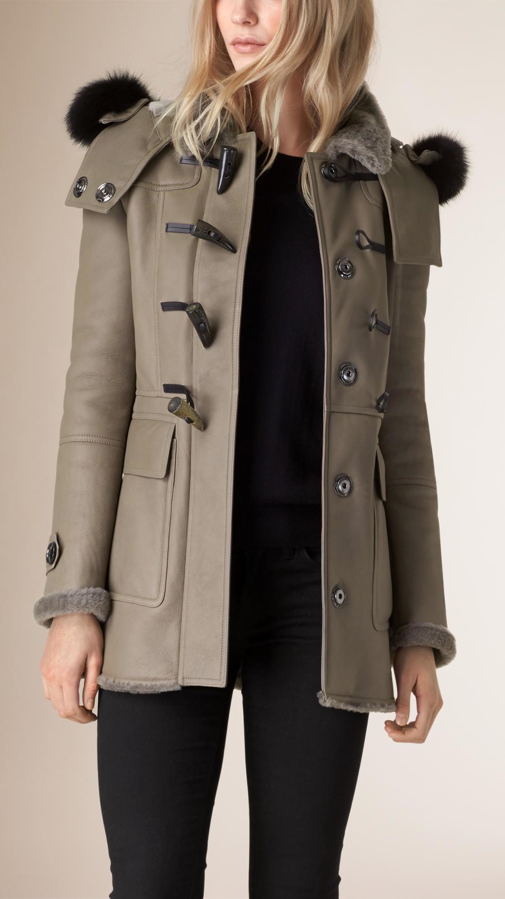 Burberry Fox Fur Trim Shearling Duffle Coat Taupe Grey in Natural