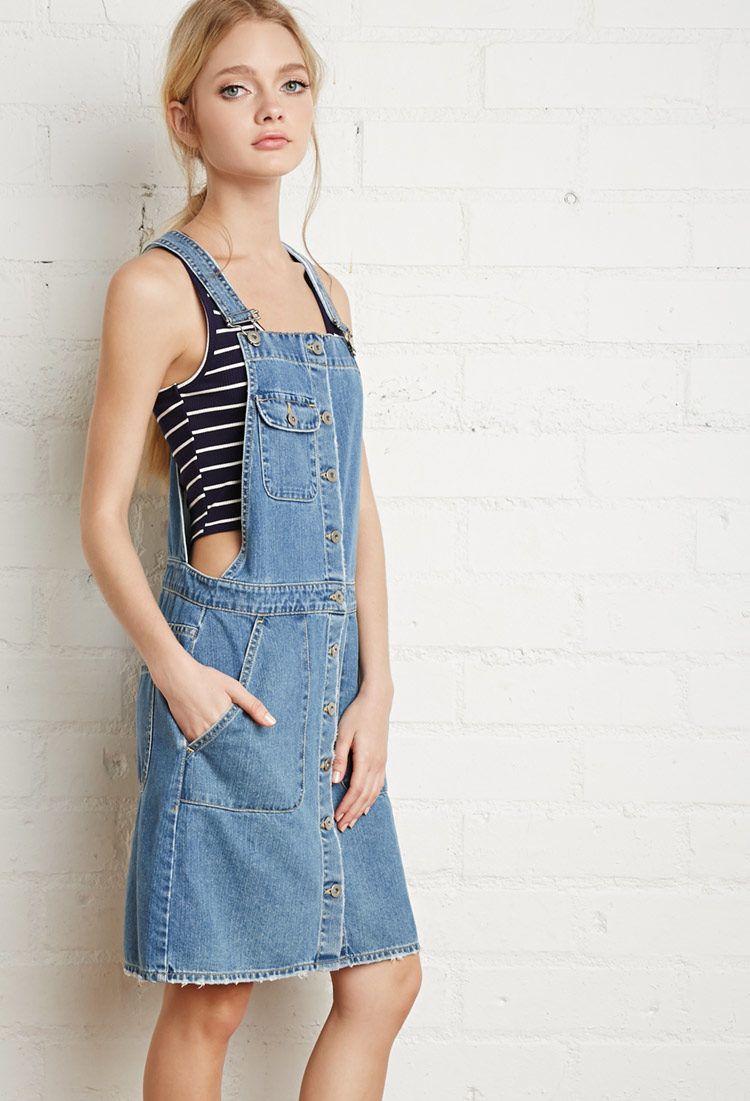 lyst forever 21 buttoned denim overall dress in blue