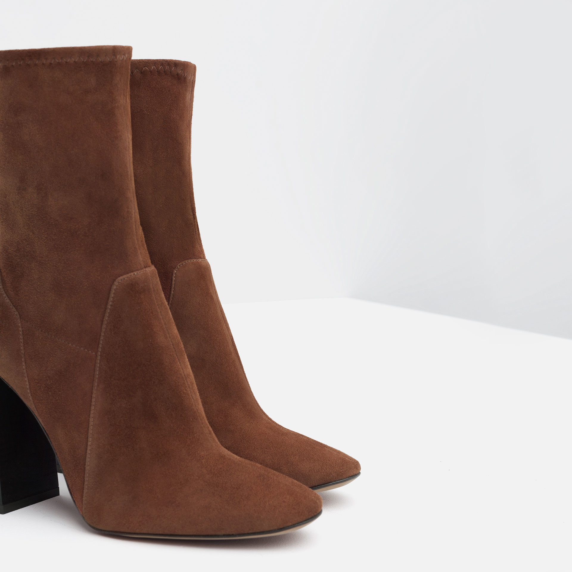 Zara High Heel Suede Ankle Boots in Brown | Lyst