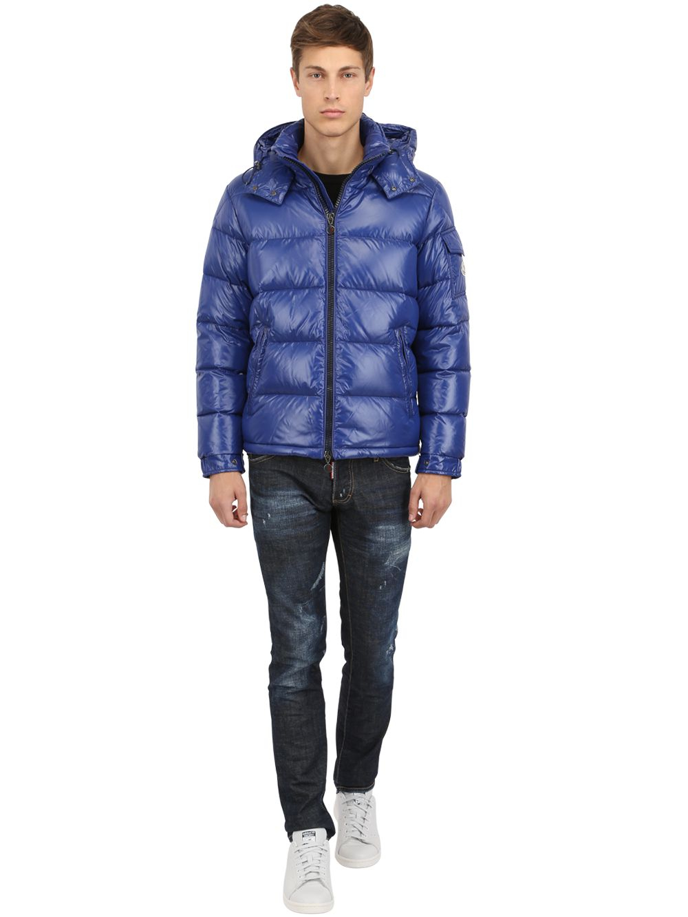 moncler blue nylon maya jacket