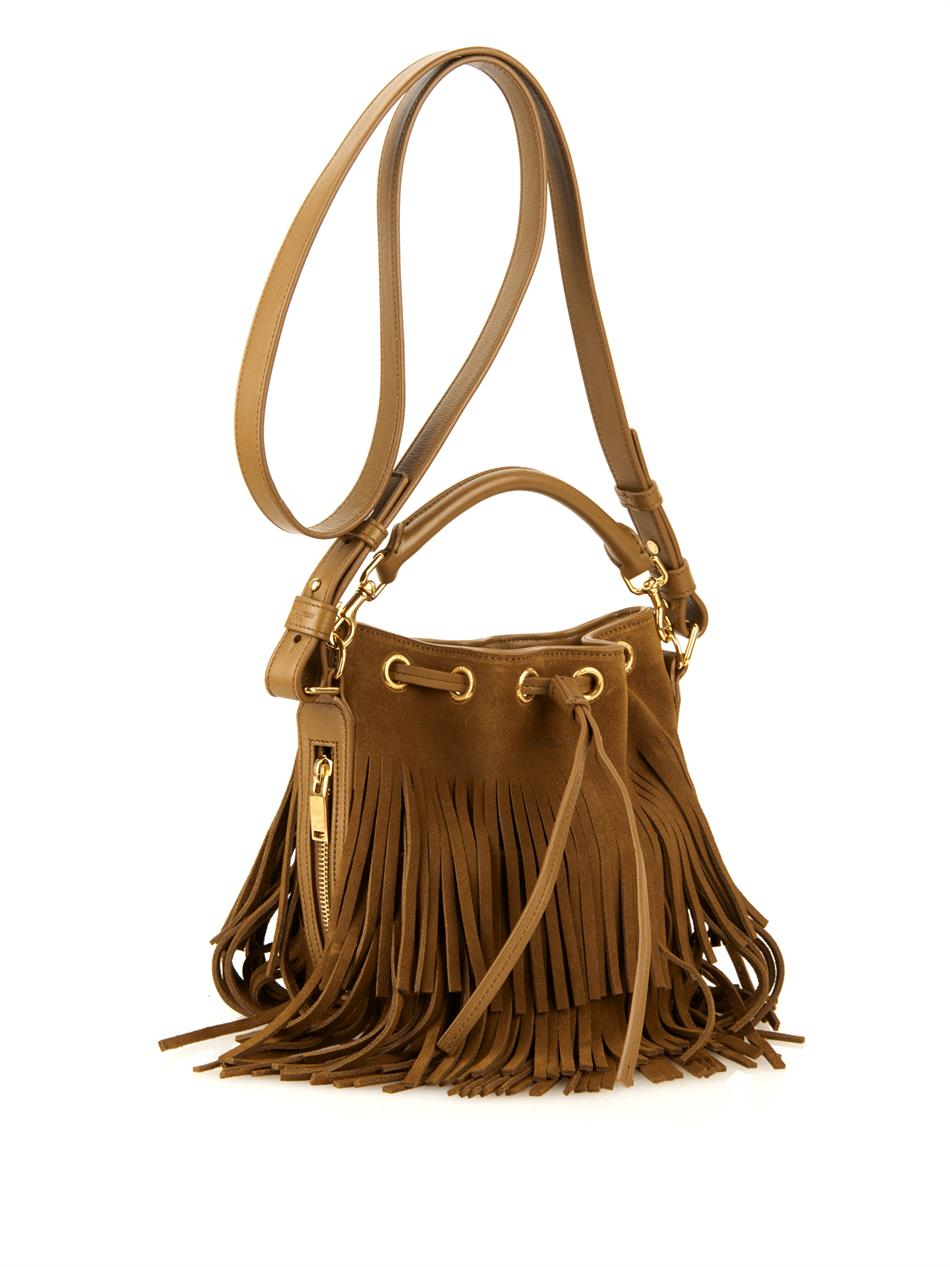 emmanuelle small suede fringe hobo bag, tan