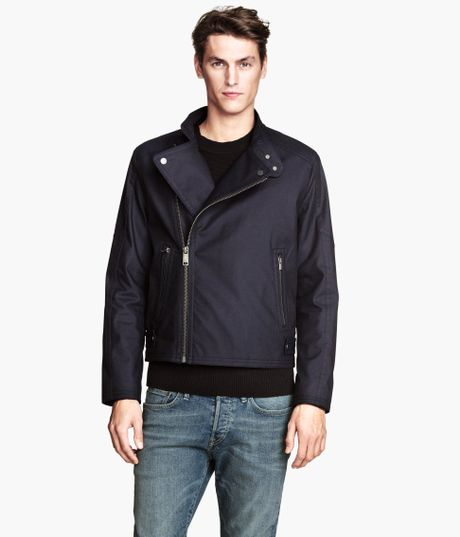 H&m Biker Jacket in Blue For