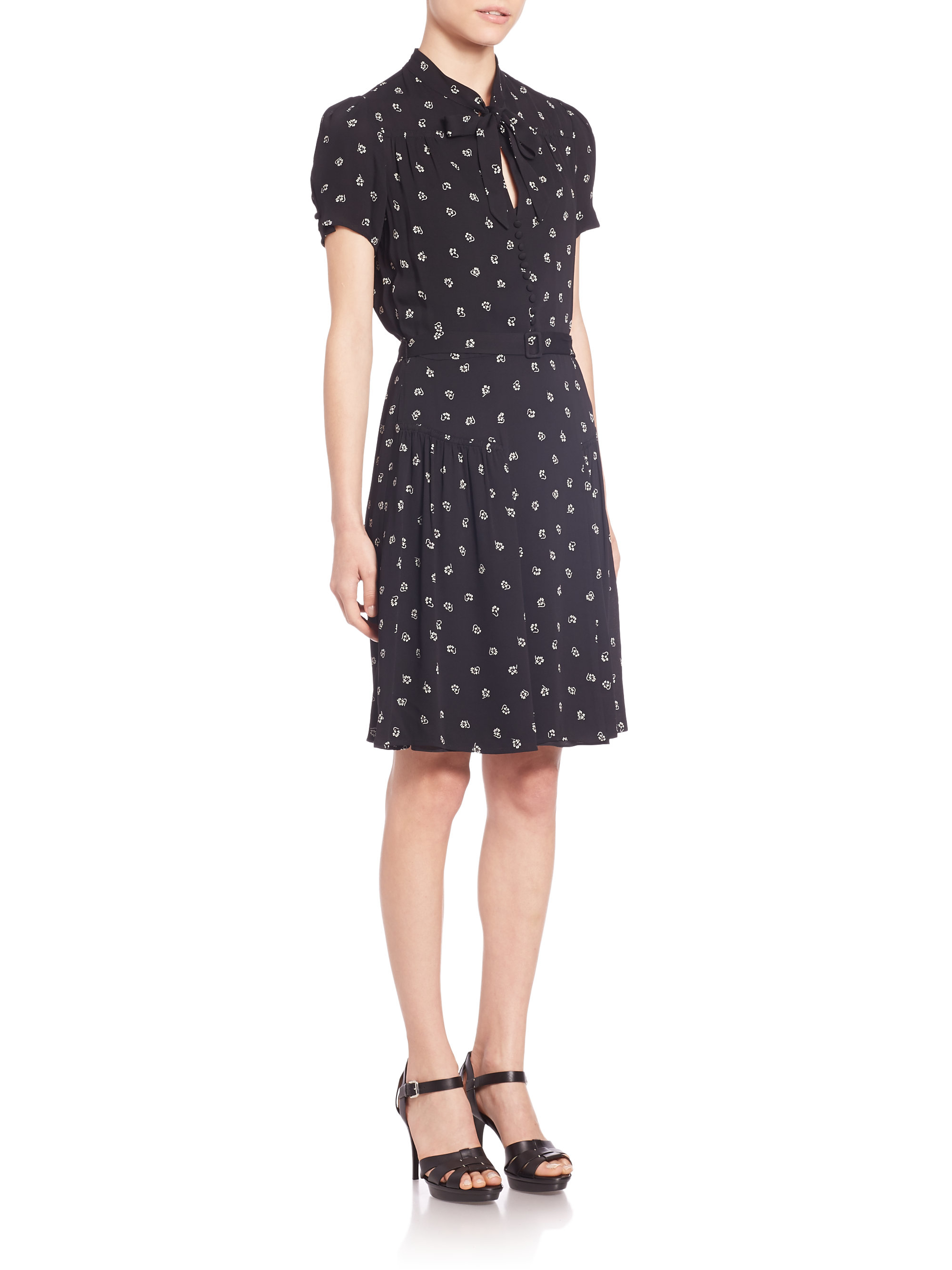 Lyst - Polo Ralph Lauren Printed Tie-front Dress in Black 95a412fbdd